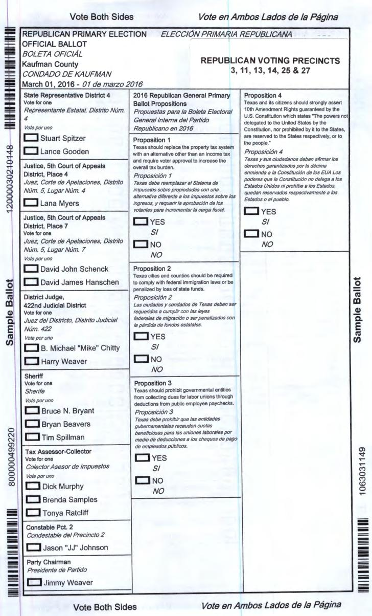 2016 March 01 Primary Sample Ballots